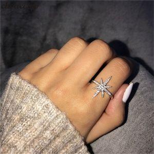 Silver Crystal Star Snowflake Ring